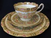 CAREWORN  Beautiful 'William Lowe / Court China' tea trio